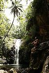 Waterfall Hakaetau island of Ua Pou<br /> Cascade d'Hakaetau  ile de Ua Pou
