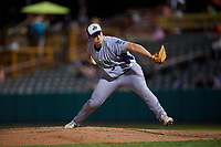 Vermont Lake Monsters relief pitcher Slater Lee (36) delivers a pitch during a game against the Tri-City ValleyCats on June 16, 2018 at Joseph L. Bruno Stadium in Troy, New York.  Vermont defeated Tri-City 6-2.  (Mike Janes/Four Seam Images)