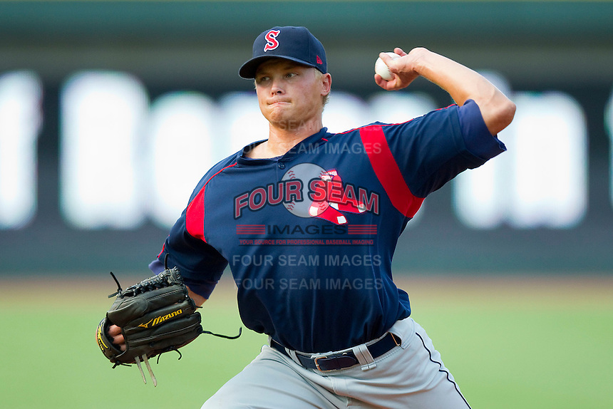 Relief pitcher William Latimer #30 of the Salem Red Sox in action against the Winston-Salem Dash at  BB&T Ballpark June 27, 2010, in Winston-Salem, North Carolina.  Photo by Brian Westerholt / Four Seam Images