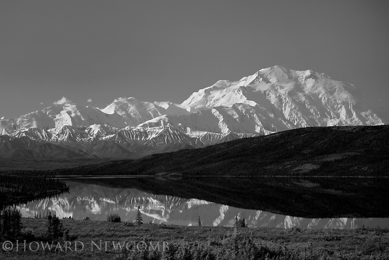 A mirror reflection of Mt. McKinley and the Alaska Range in Wonder Lake, Denali National Park, Alaska.
