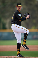 Pittsburgh Pirates pitcher Blake Weiman (82) throws live batting practice during the teams first Spring Training practice on February 18, 2019 at Pirate City in Bradenton, Florida.  (Mike Janes/Four Seam Images)