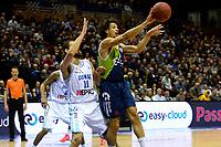 GRONINGEN - Basketbal, Donar - ZZ Leiden, Martiniplza, Halve finale NBB beker, seizoen 2018-2019, 13-02-2019, Lycurgus speler Dennis Borst met Donar speler Shane Hammink
