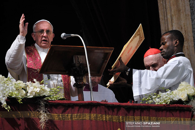 Pope Francis during the Sunday Easter mass 'Urbi et Orbi' (to the city and the world) benediction in Saint Peter's Square at the Vatica.31 March 2013