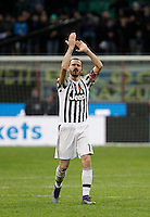 Calcio, Coppa Italia: semifinale di ritorno Inter vs Juventus. Milano, stadio San Siro, 2 marzo 2016. <br /> Juventus&rsquo; Leonardo Bonucci greets fans at the end of a penalty shootout to win the Italian Cup second leg semifinal football match between Inter and Juventus at Milan's San Siro stadium, 2 March 2016.<br /> UPDATE IMAGES PRESS/Isabella Bonotto