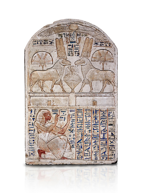 """Ancient Egyptian stele odedicated to Amon Re the """"good Ram"""" by foreman Baki, limestone, New Kingdom, 19th Dynasty, (1290-1213 BC), Deir el-Medina, Drovetti cat 1549. Egyptian Museum, Turin. white background,. Reign of Ramesses II.<br /> <br /> This round-topped stele is carved in low relief and painted <br /> in several colours. The pictorial plane is divided into two <br /> registers, the upper one containing two rams facing each <br /> other. The animals, with cobras rising on their foreheads, <br /> wear tall headdresses composed of two tall plumes with a <br /> solar disk at the centre. Between them is a small offering <br /> table with lotus flowers. The mirror image hieroglyphic <br /> inscription refers to the rams and reveals their divine <br /> nature as that of Amun-Ra. In the register below, <br /> foreman Baki is shown in the pose of adoration."""