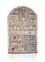 "Ancient Egyptian stele odedicated to Amon Re the ""good Ram"" by foreman Baki, limestone, New Kingdom, 19th Dynasty, (1290-1213 BC), Deir el-Medina, Drovetti cat 1549. Egyptian Museum, Turin. white background,. Reign of Ramesses II.<br /> <br /> This round-topped stele is carved in low relief and painted <br /> in several colours. The pictorial plane is divided into two <br /> registers, the upper one containing two rams facing each <br /> other. The animals, with cobras rising on their foreheads, <br /> wear tall headdresses composed of two tall plumes with a <br /> solar disk at the centre. Between them is a small offering <br /> table with lotus flowers. The mirror image hieroglyphic <br /> inscription refers to the rams and reveals their divine <br /> nature as that of Amun-Ra. In the register below, <br /> foreman Baki is shown in the pose of adoration."