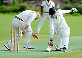 East of Scotland Cricket League, Div 3 - Clackmannan County CC v Livingston CC - Livingston veteran bowler Jim Wilson forces Clackmannan batsman Graham Oliver into a desperate lunge to make his ground - Picture by Donald MacLeod 17.07.10 - mobile 07702 319 738 - clanmacleod@btinternet.com