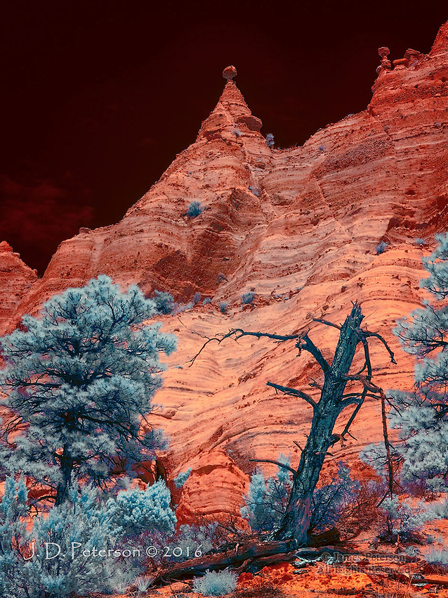 The Pinnacle (Infrared) &copy;. 2016 James D Peterson.  The otherworldly volcanic formations of New Mexico's Kasha-Katuwe Tent Rocks National Monument are enlivened by the exotic hues of a color infrared image.<br />