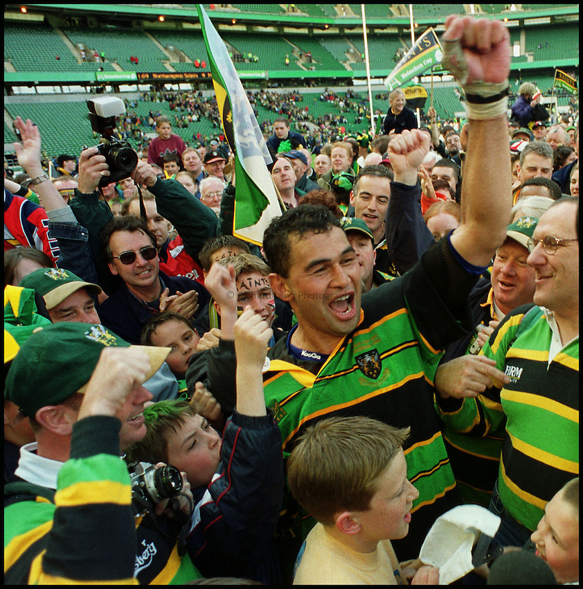 Photo: Phil Brown.Pat Lam celebrates with the Northampton fans after the win over Munster in the Heinekin European Cup at Twickenham.