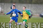 Killorglin's Liam O'Sullivan, seen here contesting possession with The Desmond League's Conor Ryan, has been a regular in Kerry's Emerging Talent Programme..He will be hoping to make the final 20 players who make up the Kennedy Cup squad which will be announced shortly.   Copyright Kerry's Eye 2008