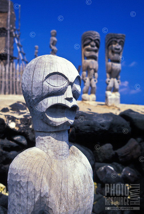 Ki'i (God images) guard the Puuhonau O Honaunau sanctuary. A sacred site known as the City of Refuge.