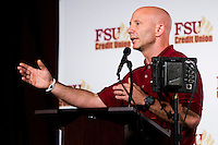 TALLAHASSEE, FLA. 2/6/13-FSUSIGNDAY020613 CH-Florida State University Linebackers/Special Teams Coordinator Charles Kelly talks about the 2013 recruiting class during the national signing day War Party, Feb. 6, 2013 in Tallahassee..COLIN HACKLEY PHOTO
