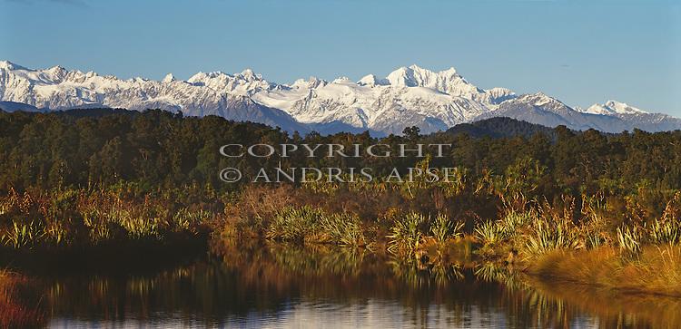 Okarito Lagoon and the Southern Alps. Westland Region. New Zealand.