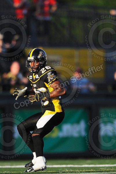 June 23, 2009; Hamilton, ON, CAN; Hamilton Tiger-Cats defensive back Chris Thompson (26). CFL football: Toronto Argonauts vs. Hamilton Tiger-Cats at Ivor Wynne Stadium. The Argos defeated the Tiger-Cats 27-17. Mandatory Credit: Ron Scheffler. Copyright (c) 2009 Ron Scheffler.