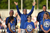 Kansas City, MO - Saturday May 28, 2016: FC Kansas City forward Shea Groom (2) is introduced. FC Kansas City defeated Orlando Pride 2-0 during a regular season National Women's Soccer League (NWSL) match at Swope Soccer Village.