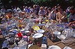 Bric a brac stall at summer fete, Suffolk, England, Uk