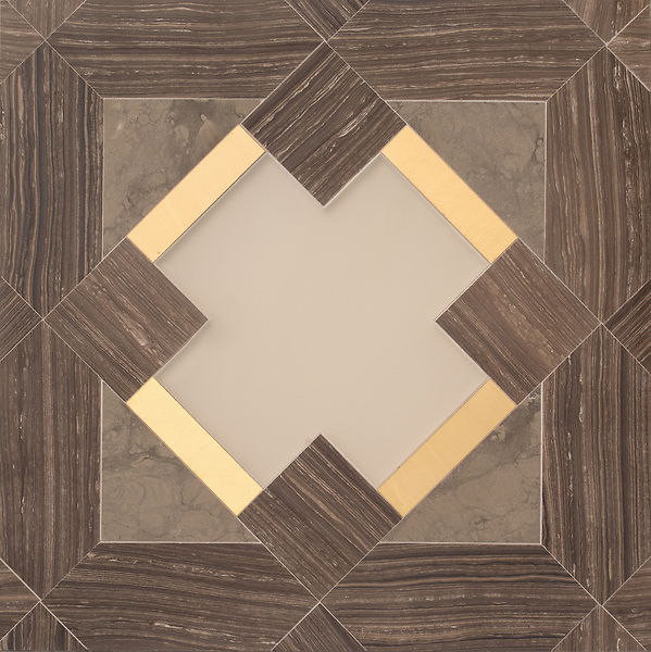 Kubuni Grand, a hand-cut and waterjet mosaic, shown in polished Bayard, honed Montevideo, Weathered White glass, and brass. Designed by Joni Vanderslice as part of the J. Banks Collection for New Ravenna.