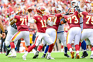 Landover, MD - September 16, 2018: Washington Redskins quarterback Alex Smith (11) throws from the pocket during game between the Indianapolis Colts and the Washington Redskins at FedEx Field in Landover, MD. The Colts defeated the Redskins 21-9.(Photo by Phillip Peters/Media Images International)