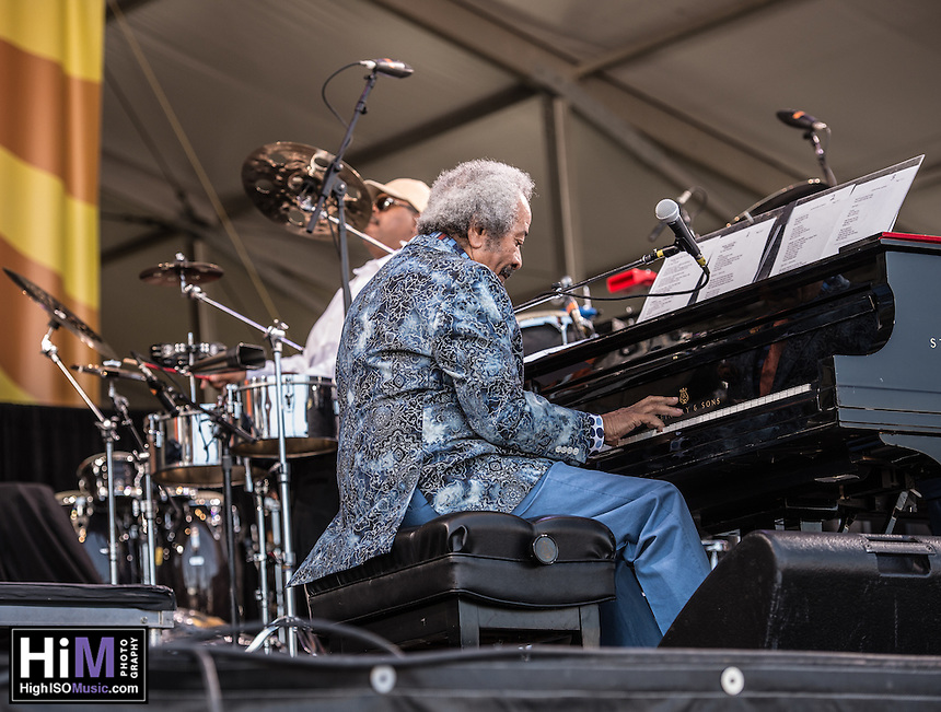 Allen Toussaint performs at the 2014 Jazz and Heritage Festival in New Orleans, LA.