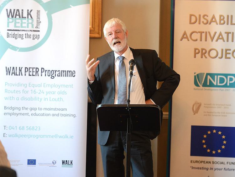 Chairman of the Board of WALK John Bourke speaking at the launch of the Walk Peer Programme in Bellingham Castle hotel. Photo:Colin Bell/pressphotos.ie