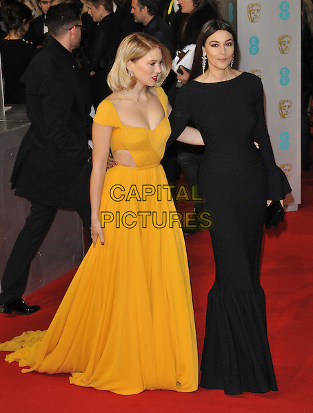 LONDON, ENGLAND - FEBRUARY 08: Lea Seydoux &amp; Monica Bellucci attend the EE British Academy Film Awards 2015, Royal Opera House, Covent Garden, on Sunday February 08, 2015 in London, England, UK. <br /> CAP/CAN<br /> &copy;Can Nguyen/Capital Pictures