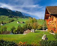 Schweiz, Kanton Appenzell Innerrhoden, Appenzellerland: Blick ueber Weissbad zur Ebenalp | Switzerland, Canton Appenzell Innerrhoden, Appenzellerland: village Weissbad with Ebenalp