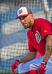22 August 2015: Washington Nationals shortstop Ian Desmond awaits his turn in the batting cage prior to a game against the Milwaukee Brewers at Nationals Park in Washington, DC. The Nationals defeated the Brewers 6-1 in the second game of their 3-game weekend series. Mandatory Credit: Ed Wolfstein Photo *** RAW (NEF) Image File Available ***