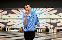 NWA Democrat-Gazette/JASON IVESTER<br /> Colby Harger, Fort Smith Southside freshman, celebrates after completing a 255 game Tuesday, Feb. 14, 2017, during the 7A-6A state tournament at Fast Lane Entertainment in Lowell.