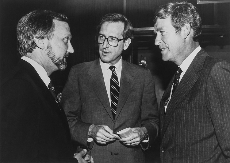 Russell Sveda, Political Officer with State Department, Sen. Jay Rockefeller, D-W.Va., and Sen. Tim Wirth, D-Colo. (Photo by CQ Roll Call via Getty Images)