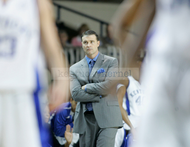 Kentucky head coach Matthew Mitchell watches as his players line up after a foul is called on a UK player during the first half of the game against Arkansas at Memorial Coliseum on Thursday. Photo by Zach Brake | Staff..