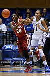 17 December 2014: Oklahoma's Sharane Campbell-Olds (24) and Duke's Azura Stevens (11). The Duke University Blue Devils hosted the University of Oklahoma Sooners at Cameron Indoor Stadium in Durham, North Carolina in a 2014-15 NCAA Division I Women's Basketball game. Duke won the game 92-72.