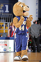 25 February 2012:  FIU's mascot, Roary, fires up the crowd as the FIU Golden Panthers defeated the University of South Alabama Jaguars, 58-55 (OT), at the U.S. Century Bank Arena in Miami, Florida.