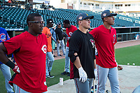 AFL East teammates Shed Long (6), Daulton Varsho (8), and Jahmai Jones (9) watch batting practice before the Arizona Fall League Fall Stars game at Surprise Stadium on November 3, 2018 in Surprise, Arizona. The AFL West defeated the AFL East 7-6 . (Zachary Lucy/Four Seam Images)