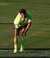 Thiago Silva of Brazil appears to struggle with a slight injury to his shin during training ahead of tomorrow's World Cup quarter final vs Colombia