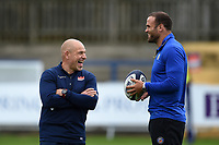 Edinburgh Rugby Head Coach Richard Cockerill and Jamie Roberts of Bath Rugby. Pre-season friendly match, between Edinburgh Rugby and Bath Rugby on August 17, 2018 at Meggetland Sports Complex in Edinburgh, Scotland. Photo by: Patrick Khachfe / Onside Images