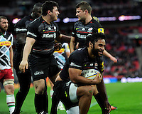 Billy Vunipola of Saracens celebrates scoring a try just before the final whistle