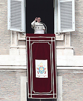 Papa Francesco recita l'Angelus domenicale affacciato su piazza San Pietro dalla finestra del suo studio. Citta' del Vaticano, 30 dicembre, 2018.<br /> Pope Francis recites the Sunday Angelus noon prayer from the window of his studio overlooking St. Peter's Square, at the Vatican, on December 30, 2018.<br /> UPDATE IMAGES PRESS/IsabellaBonotto<br /> <br /> STRICTLY ONLY FOR EDITORIAL USE