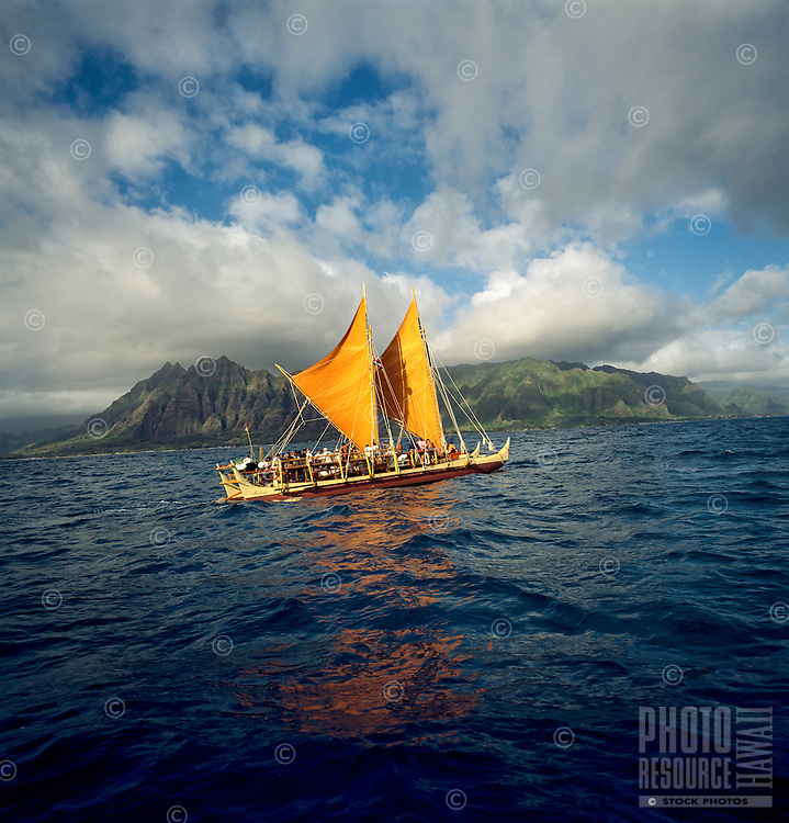 Polynesian voyaging canoe Hokule'a, off the coast of Windward O'ahu, lead by master navigator Nainoa Thompson, circa 1997.