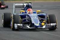 March 14, 2015: Felipe Nasr (BRA) #12 from the Sauber F1 Team rounds turn two during qualification at the 2015 Australian Formula One Grand Prix at Albert Park, Melbourne, Australia. Photo Sydney Low