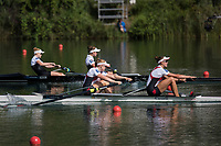 Lucerne, SWITZERLAND, 15th July 2018, Sunday Women's Pair A Final, New Zealand,  NZL W2-,Background Gold Medalis,  Bow, <br /> &quot;Grace PRENDERGAST&quot;, and &quot;Kerri GOWLER&quot;, FISA  Foreground, Silver Medalist, Canada, CAN W2-, Bow, Caileigh FILMER and Hillary JANSSENS, World Cup III Lake Rotsee, &copy; Peter SPURRIER,