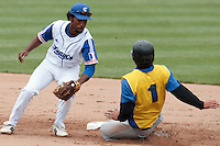 26 july 2010: Felix Brown of France tags out Serhiy Tikhonets of Ukraine during France 10-2 victory over Ukraine, in day 4 of the 2010 European Championship Seniors, in Neuenburg, Germany.