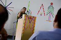 Dr. Vandana Shiva gives a presentation on climate change and melting glaciers in a University in Solan, Himachal Pradesh, India, on 7th September 2009...Dr. Vandana Shiva, the founder of Navdanya Foundation and Bijavidyapeeth, is a physicist turned environmentalist who campaigns against genetically modified food and teaches farmers to rely on indigenous farming methods.. .Photo by Suzanne Lee / For The National