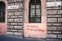 Roma 6 Settembre 2011.Manifestazione del sindacato  Usb con i comitati di base contro la manovra del governo Berlusconi..Davanti al Ministero della Funzione Pubblica scritte contro il Ministro Renato Brunetta.