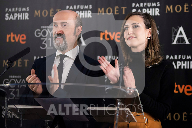 Javier Cámara and Natalia de Molina during the reading of the nominates for Goya 2017 at Academia de Cine in Madrid, Spain. December 14, 2016. (ALTERPHOTOS/BorjaB.Hojas)
