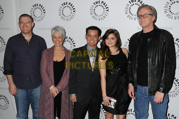 "Bob Goodman, Andrea Romano, Jay Oliva, Ariel Winter, Bruce Timm..""Batman: The Dark Knight Returns, Part 2"" Los Angeles Premiere held at The Paley Center, Beverly Hills, California, USA..January 28th, 2013.half length blue black leather jacket shirt dress pink cardigan glasses suit .CAP/ADM/BP.©Byron Purvis/AdMedia/Capital Pictures."
