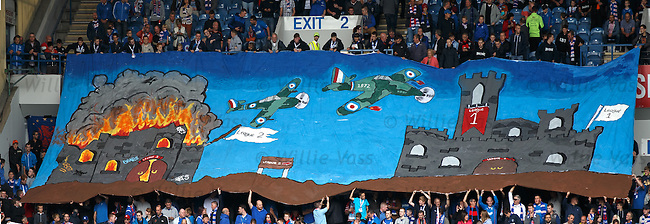 Rangers fans unveil a giant banner at kick-off