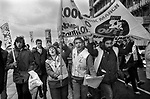 The People's March for Jobs Right To Work march. Brighton 1981. Protesters outside the conference centre where Mrs Thatcher <br />