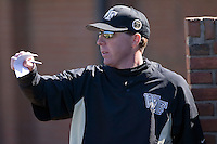Coach Jon Palmieri (19) of the Wake Forest Demon Deacons positions the outfield defense versus the Clemson Tigers during the second game of a double header at Gene Hooks Stadium in Winston-Salem, NC, Sunday, March 9, 2008.