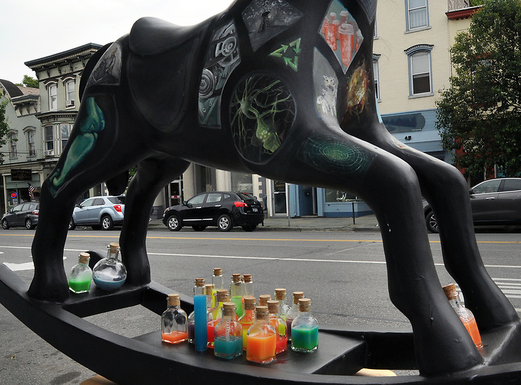 "A view of ""Science Horse"" created by, Shanti Payne, at 265 Main Street, one of the ""Rockin' Around Saugerties"" theme Statues on display throughout the Village of Saugerties, NY, on Friday, June 9, 2017. Photo by Jim Peppler. Copyright/Jim Peppler-2017."
