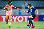 Jeju United Forward Magno Da Cruz (L) fights for the ball with Gamba Osaka Midfielder Jin Izumisawa (R) during the AFC Champions League 2017 Group H match Between Jeju United FC (KOR) vs Gamba Osaka (JPN) at the Jeju World Cup Stadium on 09 May 2017 in Jeju, South Korea. Photo by Marcio Rodrigo Machado / Power Sport Images